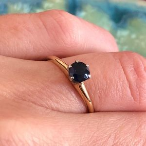 14K Yellow Gold and Blue Sapphire Solitaire Ring
